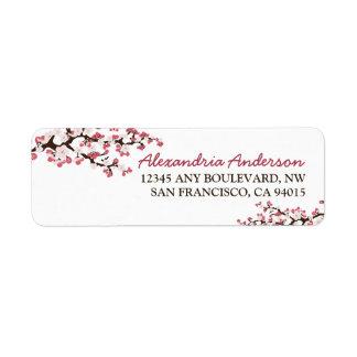 Etiqueta del remite de la flor de cerezo (rosa) etiqueta de remite