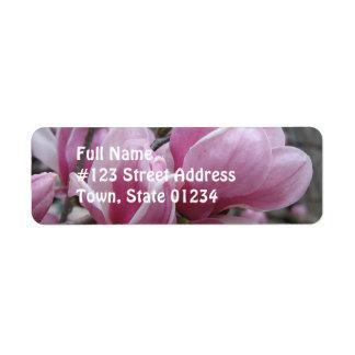 Etiqueta del remite de la flor de la magnolia etiqueta de remite