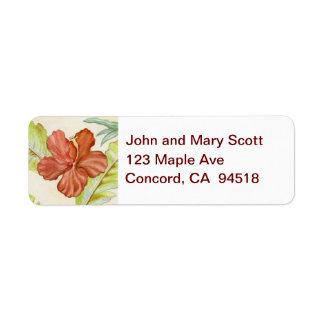 Etiqueta del remite de la flor del hibisco etiqueta de remite