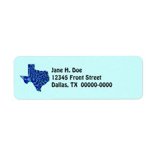 Etiqueta del remite de la forma TX del mapa del es Etiqueta De Remite