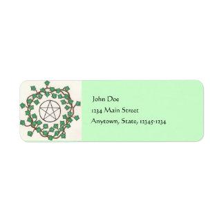 Etiqueta del remite de la hiedra y del pentáculo etiqueta de remite