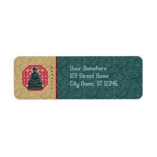 Etiqueta del remite de la longevidad de Buda del Etiqueta De Remitente
