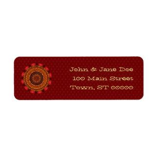 Etiqueta del remite de la mandala del fuego etiqueta de remitente