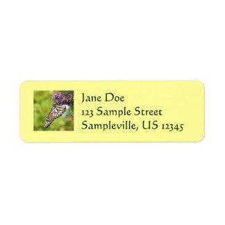 Etiqueta del remite de la mariposa de monarca etiqueta de remite