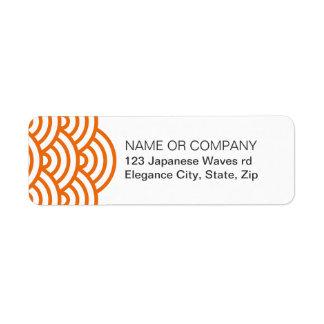 Etiqueta del remite de la onda del japonés de la etiqueta de remite