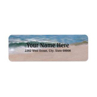 Etiqueta del remite de la playa de la orilla del o etiquetas de remite