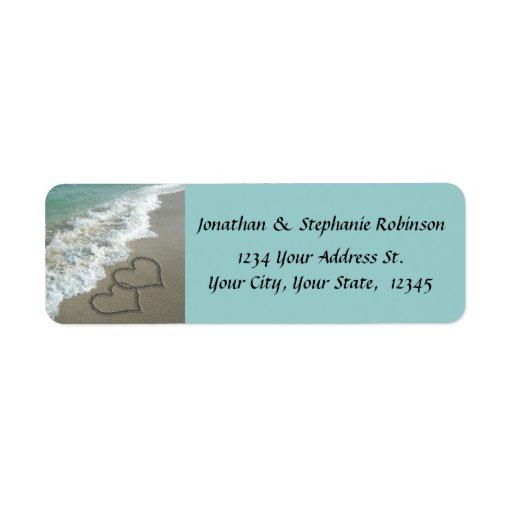 Etiqueta del remite de la playa de los corazones etiquetas de remite