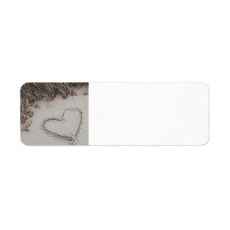 Etiqueta del remite de la sepia del corazón de la etiqueta de remitente