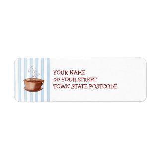 Etiqueta del remite de la taza de café etiqueta de remitente