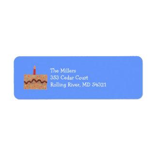 Etiqueta del remite de la torta de cumpleaños -- etiqueta de remite