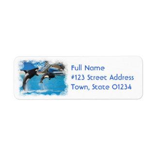 Etiqueta del remite de las ballenas de la orca etiqueta de remite