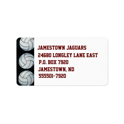 Etiqueta del remite de las bolas del voleibol etiquetas de dirección