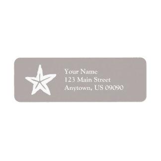 Etiqueta del remite de las estrellas de mar (arena etiqueta de remite