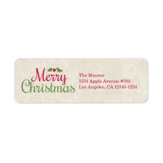 Etiqueta del remite de las Felices Navidad el | Etiqueta De Remitente