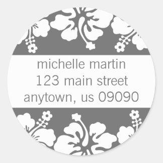 Etiqueta del remite de las flores del hibisco gri