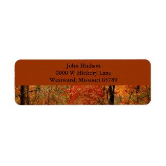 Etiqueta del remite de las hojas de otoño etiqueta de remitente