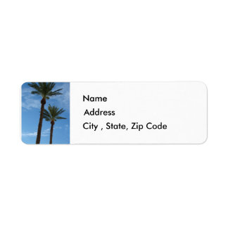 Etiqueta del remite de las palmeras etiqueta de remite