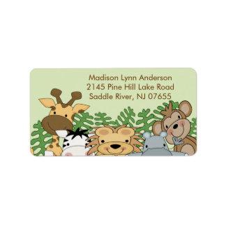 Etiqueta del remite de los animales de la selva etiqueta de dirección