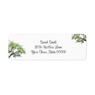Etiqueta del remite de los árboles de la primavera etiquetas de remite