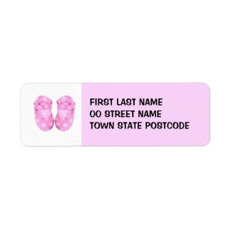 Etiqueta del remite de los botines de la niña etiqueta de remitente