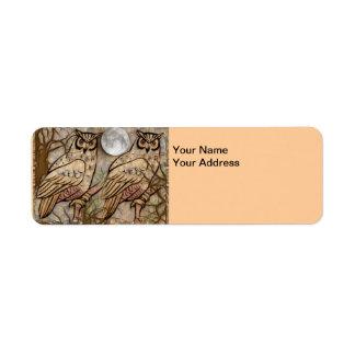 Etiqueta del remite de los búhos etiqueta de remitente