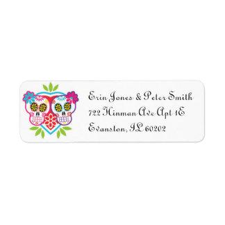 Etiqueta del remite de los cráneos y de las flores etiqueta de remite