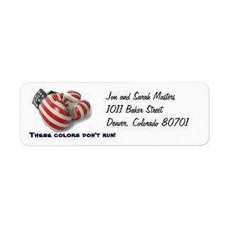 Etiqueta del remite de los guantes de boxeo de los etiqueta de remitente