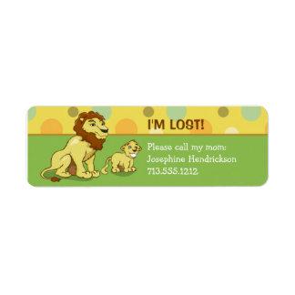 Etiqueta del remite de los niños de los leones etiqueta de remite