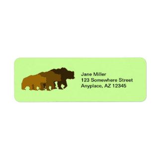 Etiqueta del remite de los osos grizzly etiqueta de remite