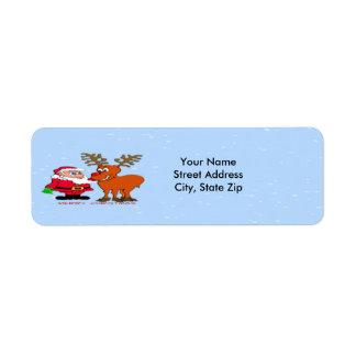 Etiqueta del remite de Santa y de Rudolph Etiqueta De Remite
