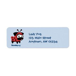 Etiqueta del remite de señora Pug (azul) Etiqueta De Remitente