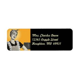 Etiqueta del remite del ama de casa del vintage etiqueta de remite