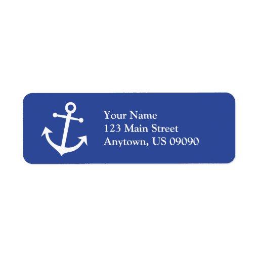 Etiqueta del remite del ancla del barco (azul mari etiqueta de remite