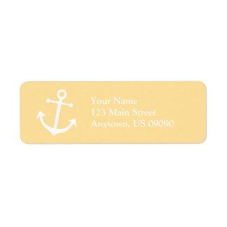 Etiqueta del remite del ancla del barco (oro/blanc etiquetas de remite