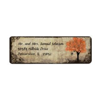 Etiqueta del remite del árbol anaranjado etiqueta de remite