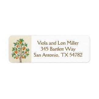 Etiqueta del remite del árbol de mandarina etiquetas de remite