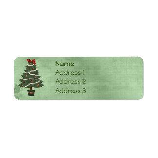 Etiqueta del remite del árbol de navidad etiquetas de remite