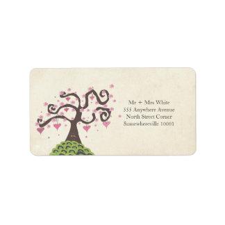 Etiqueta del remite del árbol del flor del monogra etiquetas de dirección