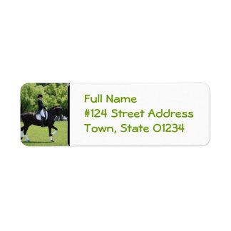 Etiqueta del remite del caballo del Dressage Etiqueta De Remitente
