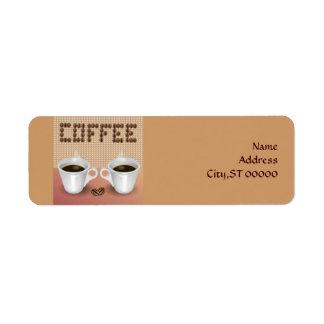 Etiqueta del remite del café etiqueta de remite