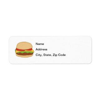 Etiqueta del remite del cheeseburger etiquetas de remite