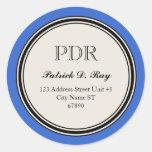 Etiqueta del remite del círculo del vintage, azul