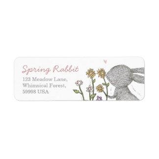 Etiqueta del remite del conejo de la primavera etiquetas de remite