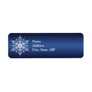 Etiqueta del remite del copo de nieve del día de f etiquetas de remite