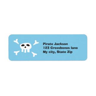 Etiqueta del remite del cráneo del pirata del dibu etiqueta de remite