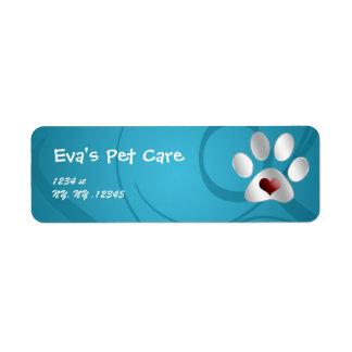 etiqueta del remite del cuidado de animales de com etiquetas de remite