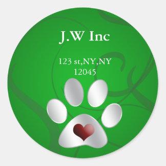 etiqueta del remite del cuidado de animales de