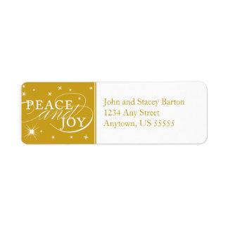 Etiqueta del remite del día de fiesta de la paz y etiqueta de remitente