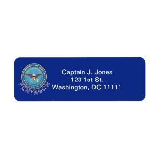 Etiqueta del remite del DOD Pentágono Etiqueta De Remite