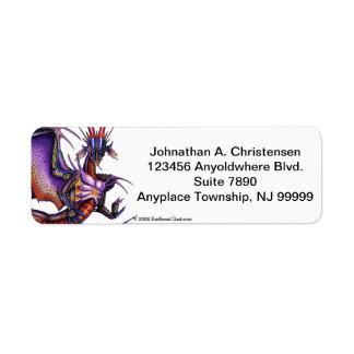 Etiqueta del remite del dragón del monarca etiqueta de remite